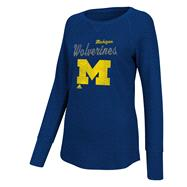 Michigan Wolverines Women's Navy adidas Sparkle Script Thermal Raglan Long Sleeve T-Shirt