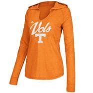 Tennessee Volunteers Women's Heather Light Orange adidas Crystal Burst Hooded Long Sleeve T-Shirt