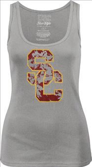 USC Trojans Women's Grey Glossy Rib Tank Top
