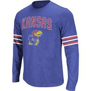 Kansas Jayhawks Royal Tackle Long Sleeve Slub Knit T-Shirt