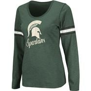 Michigan State Spartans Dark Green Women's Mako II Slub Knit Scoop Neck Long Sleeve T-Shirt