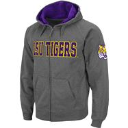 LSU Tigers Charcoal Twill Tailgate Full-Zip Hooded Sweatshirt