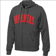 Arkansas Razorbacks Charcoal Twill Arch Full-Zip Hooded Sweatshirt