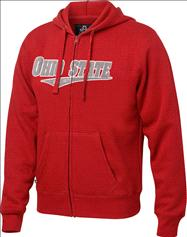 Ohio State Buckeyes Red Twill Tailsweep Full-Zip Hooded Sweatshirt