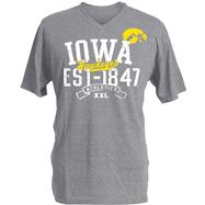 Iowa Hawkeyes Charcoal Heather Athletic V-Neck T-Shirt