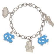 North Carolina Tar Heels 5 Charm Bracelet