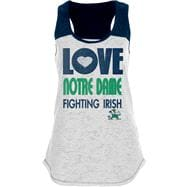 Notre Dame Fighting Irish Women's White/Navy Burnout Raglan Tank Top