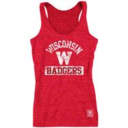 Wisconsin Badgers Women's Red adidas Retro Mascot Heathered Tri-Blend Tank Top