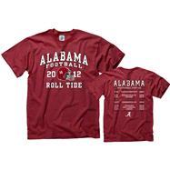 Alabama Crimson Tide 2012 Football Season Schedule T-Shirt