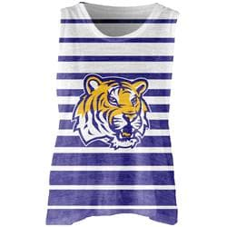 LSU Tigers Women's Burnout Striped Tank Top