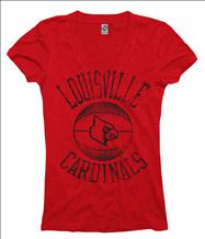 Louisville Cardinals Women's Stippler Ring Spun V-Neck T-Shirt