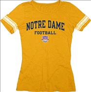 Notre Dame Fighting Irish Women's 2013 BCS National Championship Game Football Arch Jersey T-Shirt - Gold