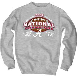 Alabama Crimson Tide 2012 BCS National Champions Final Score Crewneck Sweatshirt - Heather