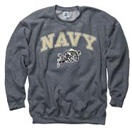Navy Midshipmen Dark Heather Perennial II Crewneck Sweatshirt