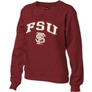 Florida State Seminoles Women's Burgundy Tackle Twill Crewneck Sweatshirt