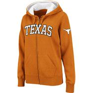 Texas Longhorns Women's Dark Orange Twill Tailgate Full-Zip Hooded Sweatshirt