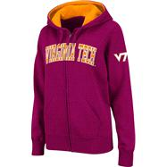 Virginia Tech Hokies Women's Maroon Twill Tailgate Full-Zip Hooded Sweatshirt