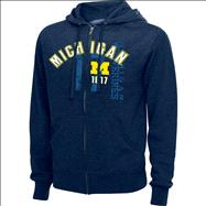 Michigan Wolverines Navy Heathered XII Full-Zip Hooded Sweatshirts