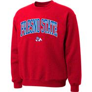 Fresno State Bulldogs Red Twill Arch Crewneck Sweatshirt