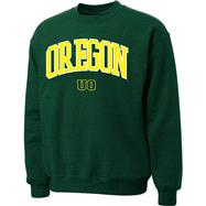 Oregon Ducks Dark Green Twill Arch Crewneck Sweatshirt
