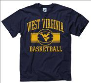 West Virginia Mountaineers Navy Wide Stripe Basketball T-Shirt