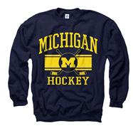 Michigan Wolverines Navy Wide Stripe Hockey Crewneck Sweatshirt
