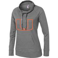Miami Hurricanes Women's Medium Grey French Terry Funnel Neck Tunic