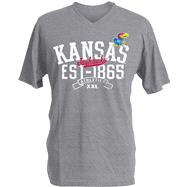 Kansas Jayhawks Charcoal Heather Athletic V-Neck T-Shirt