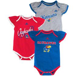 Kansas Jayhawks adidas Infant Girls 3-Pack Creeper Set