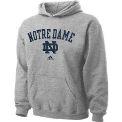 Notre Dame Fighting Irish Youth Grey adidas Arch Over ND Hooded Sweatshirt