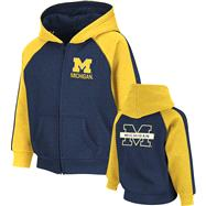 Michigan Wolverines Toddler Navy Snap Full-Zip Hooded Sweatshirt