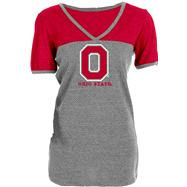 Ohio State Buckeyes Women's Heathered/Red Ringer Tri-Blend V-Neck T-Shirt