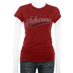 Arkansas Razorbacks Women's Cardinal Tail Sweep Cube T-Shirt