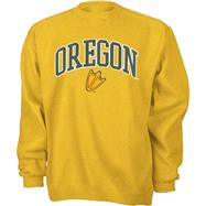 Oregon Ducks Gold Tackle Twill Crewneck Sweatshirt