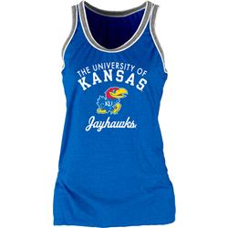 Kansas Jayhawks Women's Double Ringer Tri-Blend Tank Top