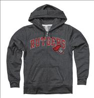 Rutgers Scarlet Knights Women's Heather Black Cheer Ring Spun Full-Zip Hooded Sweatshirt