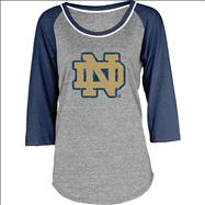 Notre Dame Fighting Irish Women's Mascot 3/4 Sleeve Tri-Blend T-Shirt