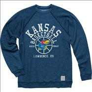 Kansas Jayhawks Original Retro Brand Basketball Super Soft Crewneck Sweatshirt