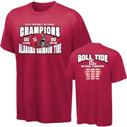 Alabama Crimson Tide 2012 BCS National Champions Record Score T-Shirt