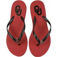 Oklahoma Sooners Women's Cardinal School Gem Flip Flops