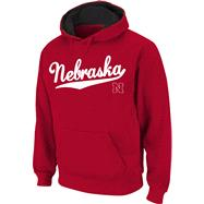 Nebraska Cornhuskers Red Twill Script Hooded Sweatshirt