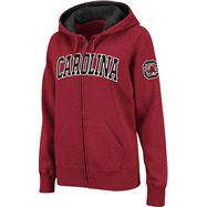 South Carolina Gamecocks Women's Cardinal Twill Tailgate Full-Zip Hooded Sweatshirt