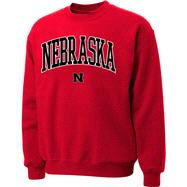 Nebraska Cornhuskers Red Twill Arch Crewneck Sweatshirt