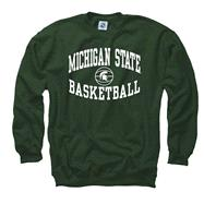 Michigan State Spartans Dark Green Reversal Basketball Crewneck Sweatshirt