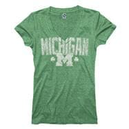 Michigan Wolverines Women's Lady Luck St. Patty's Day Ring Spun T-Shirt