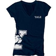 Yale Bulldogs Women's Navy Cossett Mascot Deep V-Neck T-Shirt