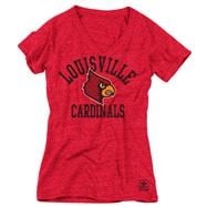 Louisville Cardinals Women's Heather Cardinal adidas Originals Gym Class Tri-Blend Vintage T-Shirt