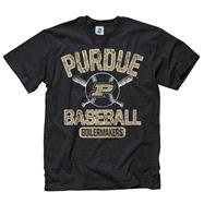 Purdue Boilermakers Black Jock Baseball T-Shirt