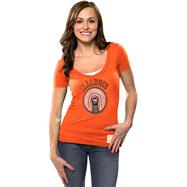 Illinois Fighting Illini Women's Orange Vintage Chief Illiniwek Dedication Deep V-Neck T-Shirt