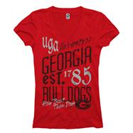 Georgia Bulldogs Women's Red Landslide Ring Spun V-Neck T-Shirt